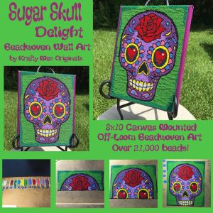 Sugar Skull Delight Beadwoven Wall Art