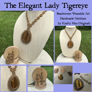 The Elegant Lady Tigereye Beadwoven Wearable Art Necklace