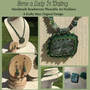 Ferne a Lady In Waiting – Handmade Beadwoven Wearable Art Necklace