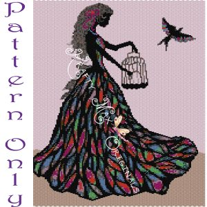 Lady with Bird Wall Art – PATTERN ONLY