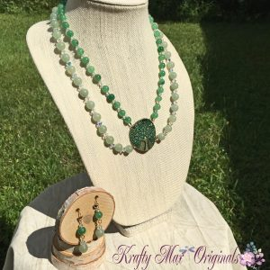 Green Gemstone with Swarovski Crystals and Tree of Life Necklace Set