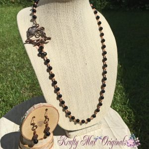 Sparkly Cooper Octopus with Black Banded Agate Necklace Set
