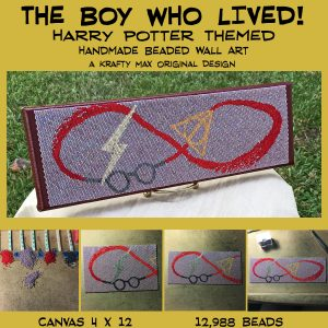 The Boy Who Lived – Harry Potter Themed Beadwoven Wall Art – A Krafty Max Original Design
