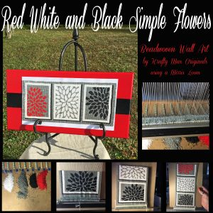 Red White Black Simple Flowers Beadwoven Wall Art using Mirrix Loom