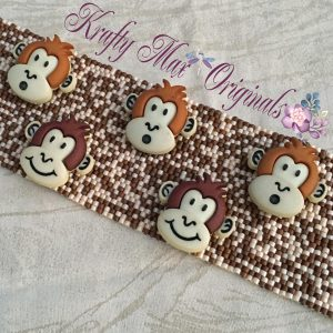 Sock Monkey Handmade Beadwoven Button Bracelet