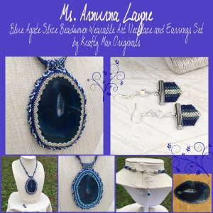 Ms. Arnurna Layne – Blue Agate Slice Beadwoven Wearable Art Necklace and Earrings Set