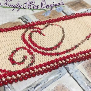 BeadALong 8 – Beadwoven Heart Bracelet Cuff with Fringe