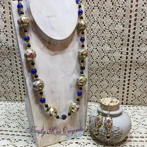 Gold Vintage Cloisonné with Black Onyx and Blue Gemstones Necklace Set