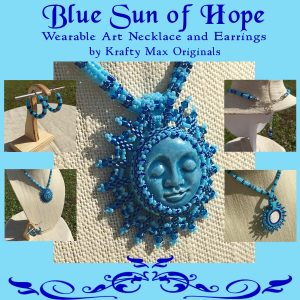 Blue Sun of Hope Wearable Art Beadwoven Necklace Set