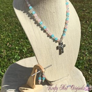 Blue and Pink Necklace Set with Swarovski Crystals and a Beautiful Cross from Grandmother's Stash