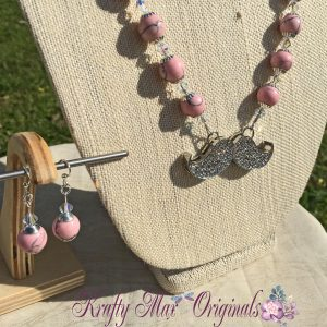 Pink and Swarovski Crystals Mustache Necklace Set