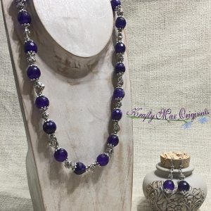 Purple Amethyst Faceted Beads with Silver Plated Hearts and Findings Necklace Set