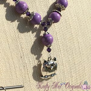 Purple Strand with Owl and Swarovski Crystals Necklace Set