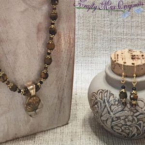 Tigereye and Gold with Center from Mile Hi Consciousness Necklace and Earrings Set