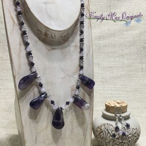 Amethyst Drops with Swarovski Crystals and Quartz Necklace Set