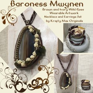 Baroness Mwynen – Brown and Ivory Wild Rose Wearable Artwork Necklace and Earrings Set