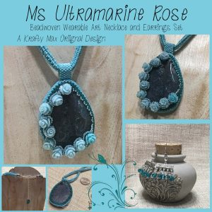 Ms Ultramarine Rose Beadwoven Wearable Art Necklace and Earrings Set