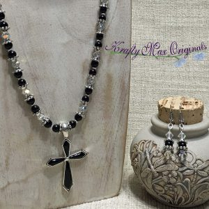 Black Cross and Clear Swarovski Crystals from Grandmothers Stash Necklace Set