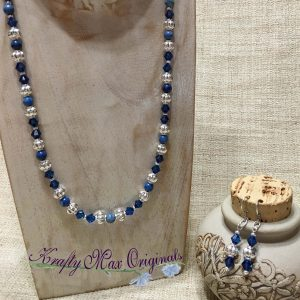 Blue on Blue with Swarovski Crystals and Silver Plated Findings Necklace Set