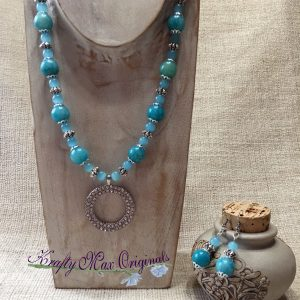 Blue (Teal) with Sparkle Circle Necklace Set