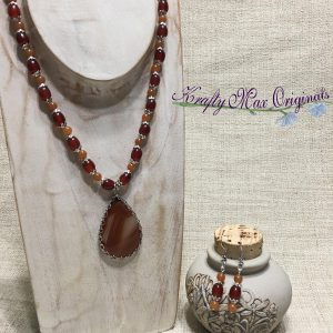 Condor Agate Drop and Carnelian with Silver Plated Findings Neckalce Set