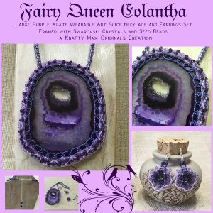 Fairy Queen Eolantha – Large Purple Agate Wearable Art Slice Necklace and Earrings Set – Framed with Swarovski Crystals and Seed Beads