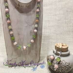 Green and Pink Quarts with Swarovski Crystals Necklace Set