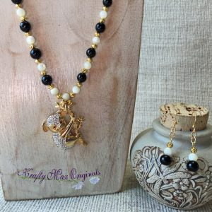 Koala and Black Onyx and White Mother of Pearl Necklace Set from Grandmothers Stash