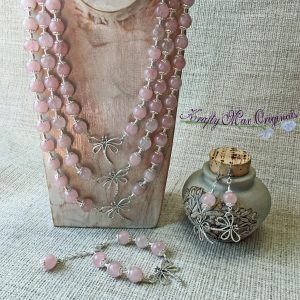 Triple Strand Pink Quartz and Dragonfly Necklace with Bracelet and Earrings