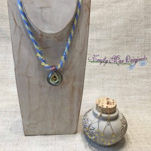 Everyone is Coming up Blue and Yellow – Wearable Art Beadwoven Necklace Set from Bead Soup Blog Party 2017