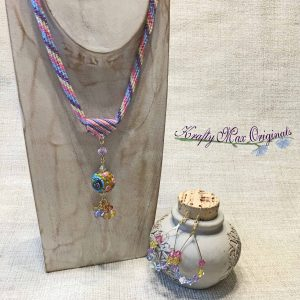 Rainbow's in the Spring – Wearable Art Beadwoven Necklace Set from Bead Soup Blog Party 2017
