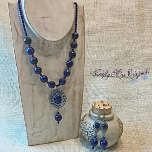 Blue Lapis Lazuli and Blue Swarovski Pearls Necklace and Earrings Set