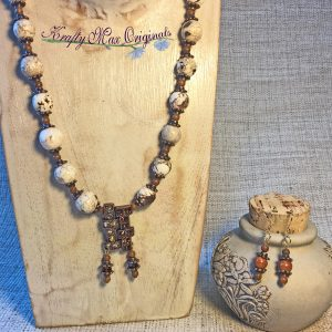 Brown and White with Some Topaz Sparkle Necklace Set