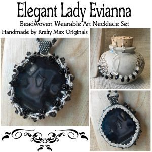 Elegant Lady Evianna Wearable Art Back and White Agate Slice Beadwoven Necklace and Earrings Set
