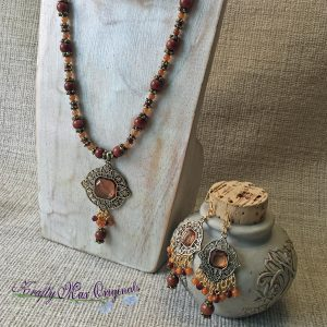 Goldstone with Dangle Necklace and Earrings Set from Grandmothers Stash