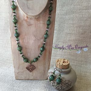 Green Aventurine with Copper Necklace and Earrings Set