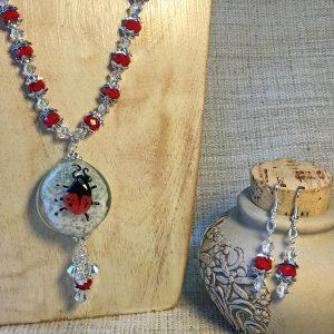 Handmade Red Ladybug Lampwork Center and Swarovski Crystals Necklace Set