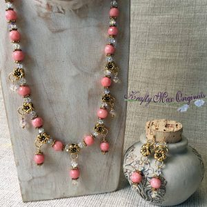 Pink Rhodonite and Gold Swirl with Swarovski Crystals Necklace Set