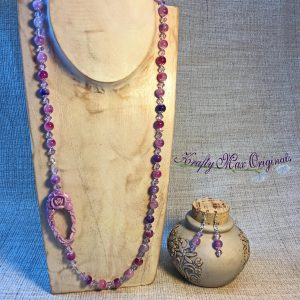 Pink and Purple With Off-Set Lucite Rose and Soft Purple Swarovski Crystals Necklace Set