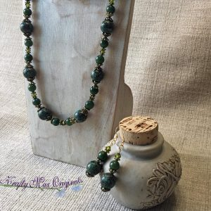 Shades of Green – Magnesite and Aventurine – Swarovski Crystals and All Necklace and Earrings Set