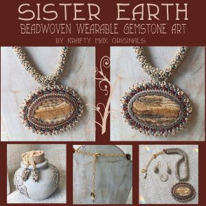 Sister Earth Wearable Art Beadwoven Gemstone Necklace and Earrings Set