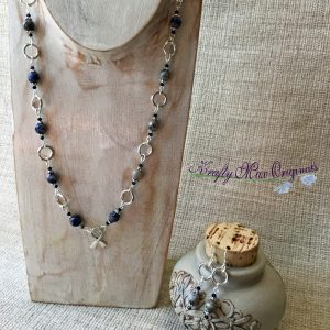 Sodalite and Silver Plated Necklace with Remembrance Ribbon!