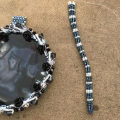 Black and White Agate Slice (almost done), Lots of Green Creations and 9th #BeadALong Kits