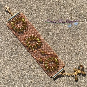 Golden Beadwoven Bracelet with Green Triangle Beads from the Bead Peeps Swap N Hop 2017