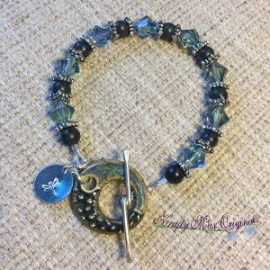Teal Swarovski Crystals with Ceramic Clasp Bracelet from the Bead Peeps Swap N Hop 2017
