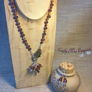 Wine Glass and Earth Tone Gemstones with Leaves and Dangles from the Bead Peeps Swap N Hop 2017