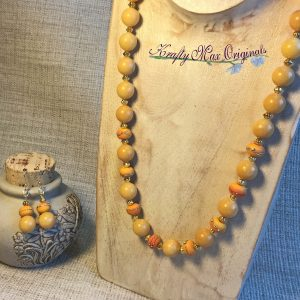 Simple and Elegant Yellow/Orange Stranded Necklace Set from the Bead Peeps Swap N Hop 2017