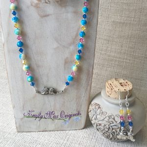 Blue, Pink and Yellow with Owls TOO! Swarovski Crystal and Glass Bead Necklace Set
