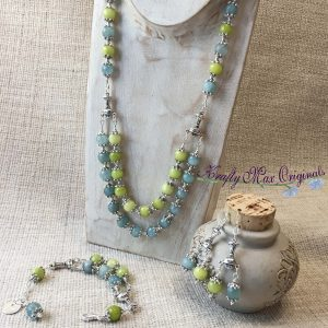 My Cup Runith Over – Blue and Green Faceted Necklace Bracelet and Earrings Set