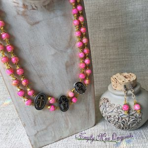 Bright Pink and Yellow Double Strand Necklace and Earrings Set with Crosses
